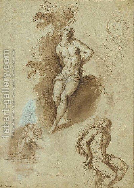 Three studies of Saint Sebastian tied to a tree, by Jacopo d'Antonio Negretti (see Palma Giovane) - Reproduction Oil Painting