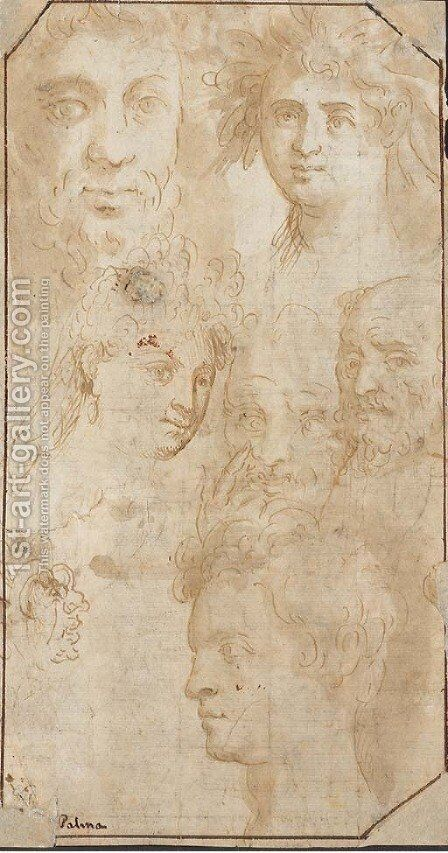 Seven heads with a self portrait and a portrait of Adriana Negretti by Jacopo d'Antonio Negretti (see Palma Giovane) - Reproduction Oil Painting