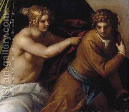 Joseph and Potiphar's wife by Jacopo d'Antonio Negretti (see Palma Giovane) - Reproduction Oil Painting