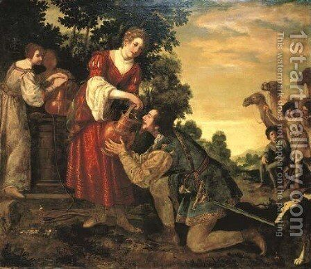 Rebecca and Eliezer at the Well by Jacopo Vignali - Reproduction Oil Painting