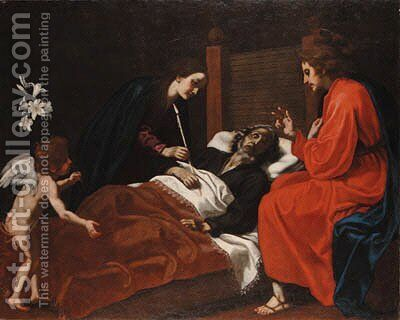 The Death of Saint Joseph by Jacopo Vignali - Reproduction Oil Painting