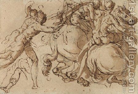 Soldiers on horseback pursued by foot-soldiers by Jacopo Bertoia - Reproduction Oil Painting