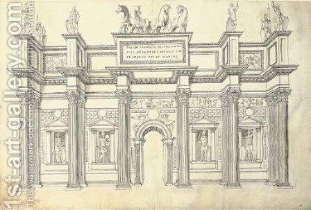 A monumental gateway of five bays in the Corinthian Order by J. Androuet (du Cerceau) Ducerceau - Reproduction Oil Painting