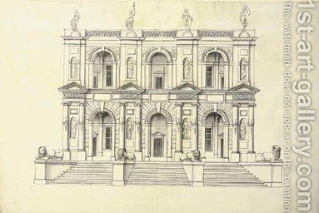 A portico of two stories in the Ionic Order above a flight of steps by J. Androuet (du Cerceau) Ducerceau - Reproduction Oil Painting