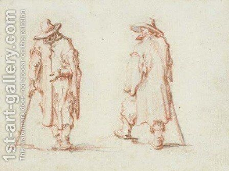 Two men in hats and long coats by Jacques Callot - Reproduction Oil Painting