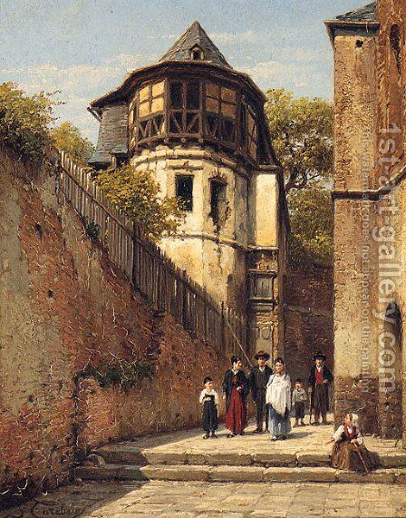 A Family In A Sunlit Street by Jacques Carabain - Reproduction Oil Painting