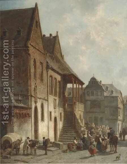 Figures conversing by the town hall of Goslar, Germany by Jacques Carabain - Reproduction Oil Painting