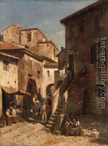 The village by Jacques Carabain - Reproduction Oil Painting