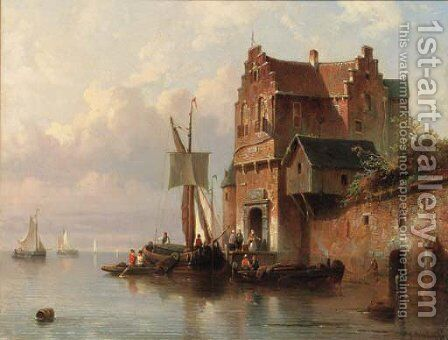 Unloading at the customs house by Jacques Carabain - Reproduction Oil Painting