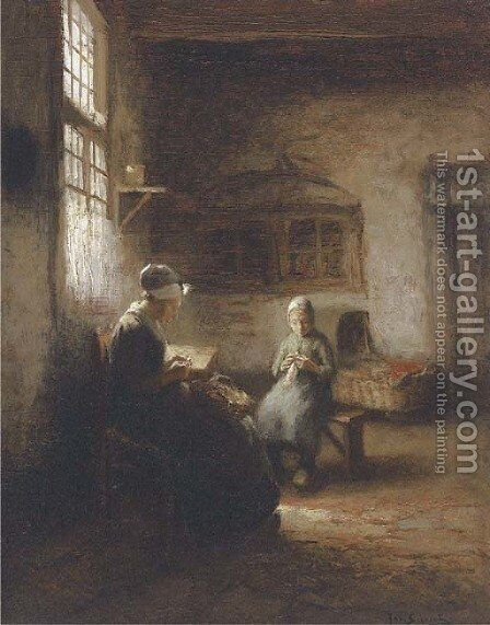 Sewing in the nursery by Jacques Cornelis Snoeck - Reproduction Oil Painting