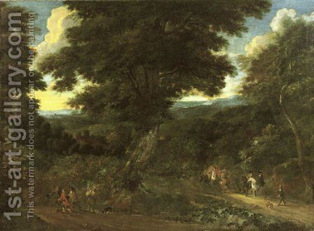 A wooded landscape with travellers on horseback by Jacques d' Arthois - Reproduction Oil Painting