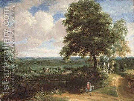 A panoramic landscape with a huntsman on a path and a manor house with formal gardens beyond by Jacques d' Arthois - Reproduction Oil Painting
