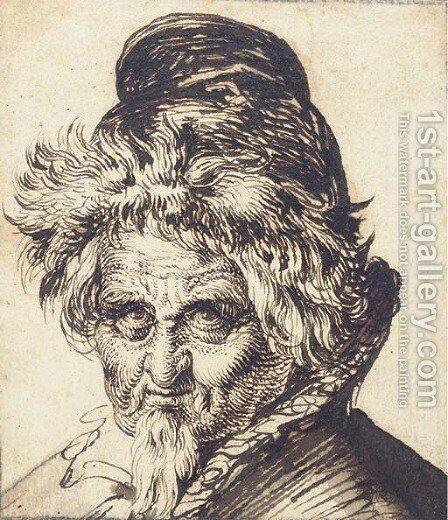 Head of a bearded man wearing a cap by Jacques de Gheyn - Reproduction Oil Painting
