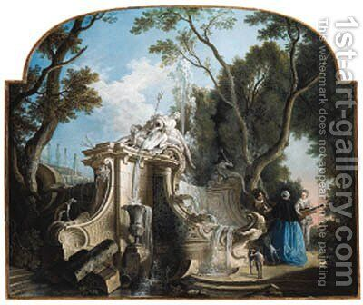 A serenade near a fountain by Jacques de Lajoue - Reproduction Oil Painting