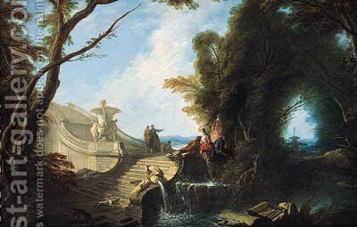 An elegant company seated on a staircase in a park with dogs playing in the foreground by Jacques de Lajoue - Reproduction Oil Painting