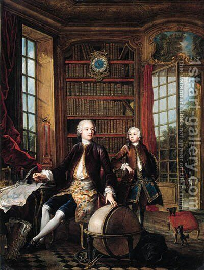Portrait of the artist's son with his teacher by Jacques de Lajoue - Reproduction Oil Painting