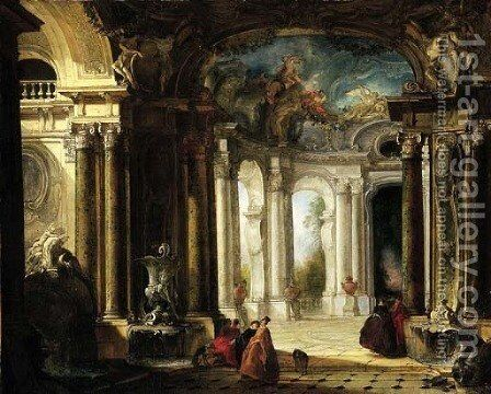 The interior of a baroque palace with elegant company conversing by fountains by Jacques de Lajoue - Reproduction Oil Painting