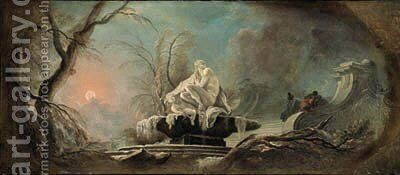 Winter a frozen fountain with figures on a staircase by Jacques de Lajoue - Reproduction Oil Painting
