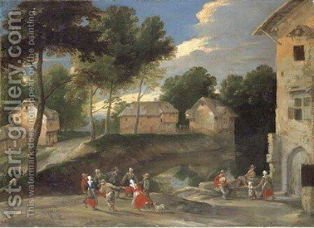 A village landscape with villagers dancing to the bagpipes by Jacques Fouquieres - Reproduction Oil Painting