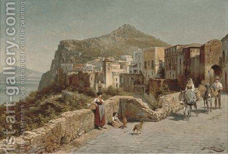 On the road to market, Capri by Jacques Carabain - Reproduction Oil Painting