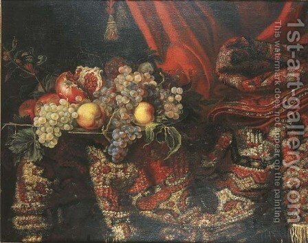 Grapes, peaches and pomegranates on a pewter platter by an oriental carpet by Jacques Hupin - Reproduction Oil Painting