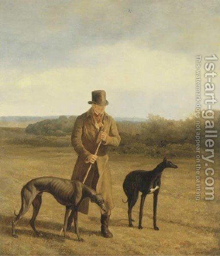 Portrait of Lord Rivers with two Greyhounds by Jacques Laurent Agasse - Reproduction Oil Painting