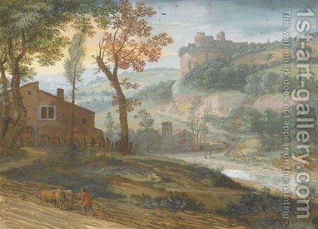 A river landscape with a farmer ploughing in the foreground, a castle seen beyond by Jacques Stella - Reproduction Oil Painting