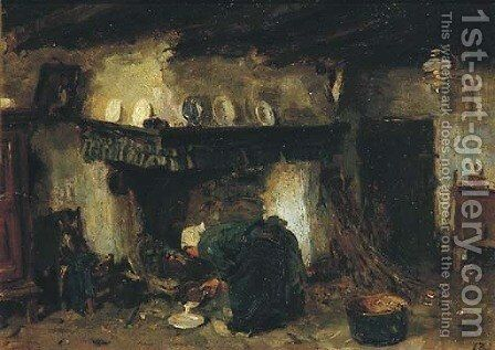 By the kitchen fire by Jacques Abraham Zon - Reproduction Oil Painting