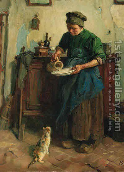 Feeding the cat by Jacques Abraham Zon - Reproduction Oil Painting