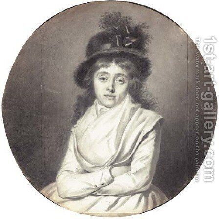 Portrait of a lady wearing a hat, arms crossed by Jacques-Antoine-Marie Lemoine - Reproduction Oil Painting