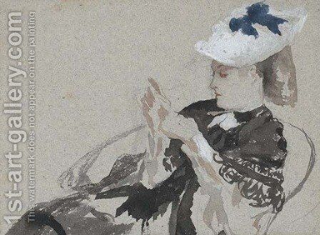 A young woman, seated in profie to the left, wearing a hat by James Jacques Joseph Tissot - Reproduction Oil Painting