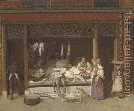 A fishmonger's shop by Jacques Laurent Agasse - Reproduction Oil Painting