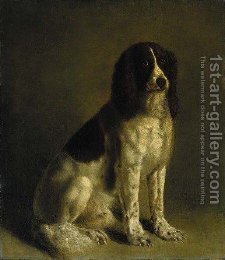 A springer spaniel by Jacques Laurent Agasse - Reproduction Oil Painting