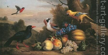 A Bullfinch, a Chough, a Jay and a Sun Conure with quinces, grapes and melons in a landscape by Jakob Bogdani Eperjes C - Reproduction Oil Painting