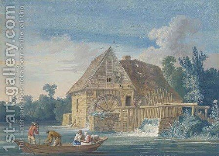 The water mill at Ivry with fishermen on a boat in the foreground by Jakob Philippe Hackert - Reproduction Oil Painting