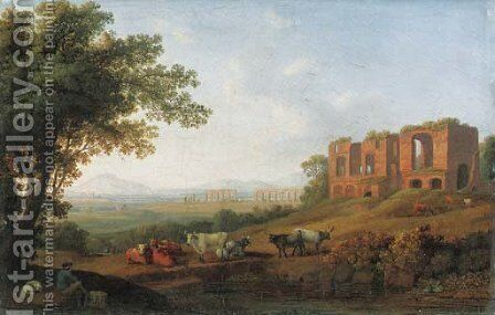 A view of the Roman Campagna by the Appian Way by Jakob Philippe Hackert - Reproduction Oil Painting
