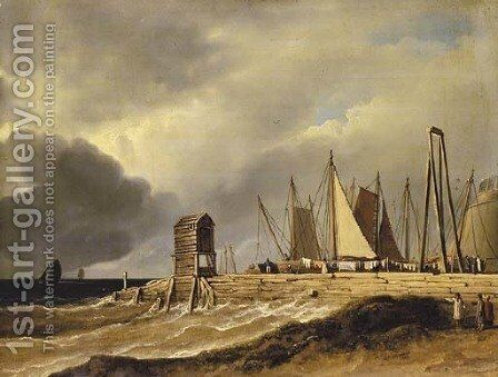 A pier in choppy seas by James Arthur O'Connor - Reproduction Oil Painting