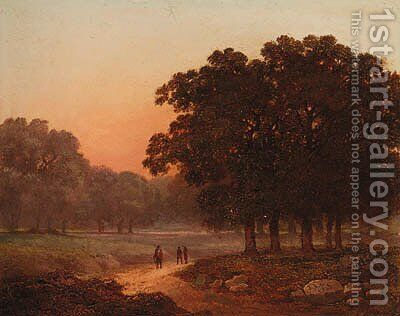 A wooded Landscape with Figures on a Track by James Arthur O'Connor - Reproduction Oil Painting