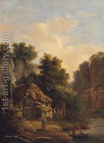 Figures Before A Cottage In A Gorge by James Arthur O'Connor - Reproduction Oil Painting