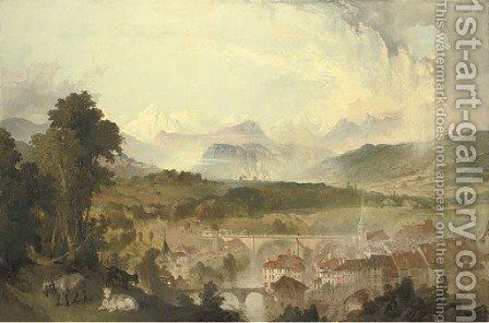 View of Berne with the Aar River and the Nydegg Bridge, goats in the foreground and the Alps beyond by James Astbury Hammersley - Reproduction Oil Painting