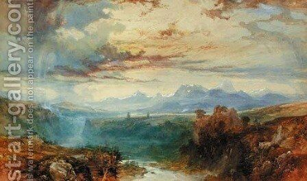 An Swiss Alpine landscape by James Baker Pyne - Reproduction Oil Painting