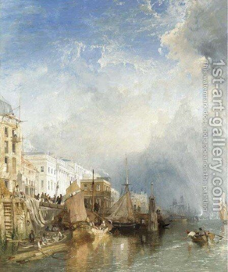 View Of The Custom House From The Thames by James Baker Pyne - Reproduction Oil Painting