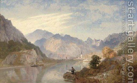A picnic on the lago d'Orta with the town of Omegna beyond by James Baker Pyne - Reproduction Oil Painting