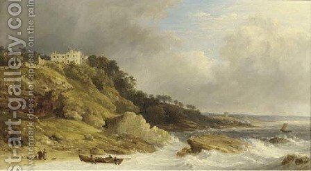 Fishermen landing a boat before a clifftop country house by James Baker Pyne - Reproduction Oil Painting