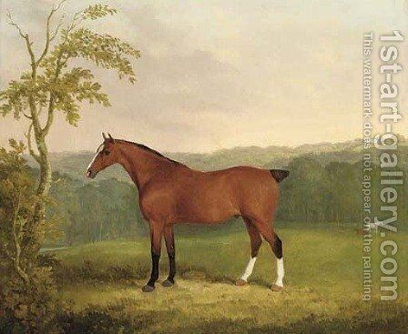 A bay carriage horse by James Barenger - Reproduction Oil Painting