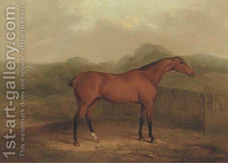 A chestnut racehorse in a landscape by James Barenger - Reproduction Oil Painting