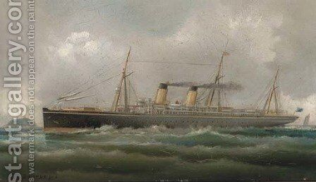 The steamship Teutonic by James Bourne - Reproduction Oil Painting