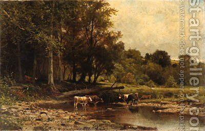 Cows along the River by James Brade Sword - Reproduction Oil Painting