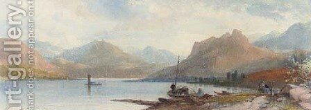 A peaceful day by the lake by James Burrell Smith - Reproduction Oil Painting