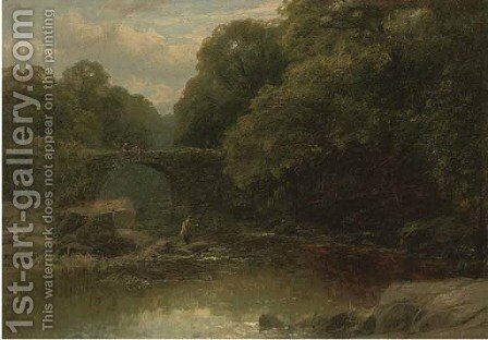 An angler in a rocky river with a bridge beyond by James Burrell Smith - Reproduction Oil Painting
